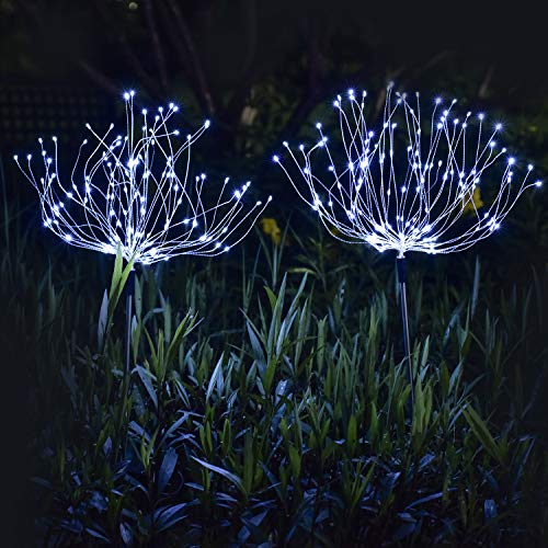 Ooklee Solar Garden Lights Outdoor, 2 PCS 150 LED Waterproof 8 Mode Firework Tree Stake Starburst String, Copper Wire Fairy Lights for Outside Home Party Festival Christmas Decorations(Cool White)