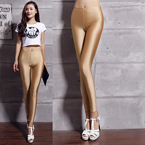 AOZLOVEC Leggings brillantes para mujer Leggings largos Pantalones elásticos Leggings básicos Casual Spandex Soft Multicolor Legging OneSize K036Khaki