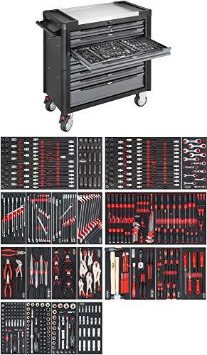 VIGOR Werkstattwagen mit Edelstahl-Arbeitsplatte, inkl. Sortiment (499teilig, 8 Schubladen mit je 25kg Tragkraft, insgesamt 500kg Tragkraft) V4481-X/499