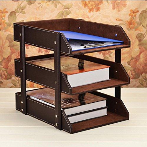 GFYWZ Pelle 3 Tier Rack file di Office Document Vaschetta portacorrispondenza Case Desktop scrivania del libro dell'organizzatore vassoi Holder marrone nero , coffee
