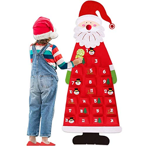 Anrapley 3.6ft Christmas Advent Calendar 2020, Wall Hanging Santa Felt Christmas Tree Advent Calendar with 24 Days Pockets, Xmas Countdown Calendar Gift for Kids Home Office Door Decoration