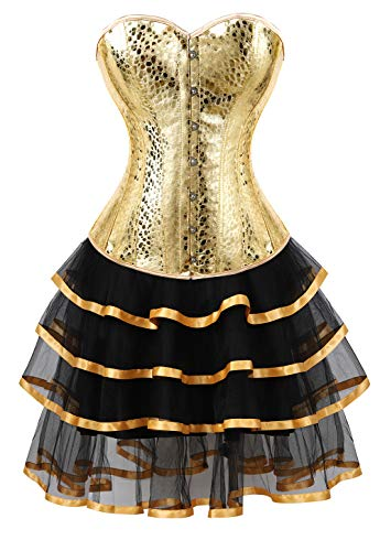 frawirshau Korsett Kleider Overbust Korsett Rock Set Moulin Rouge Showgirl Saloon Girl Kostüm Clubwear - Gold - Large