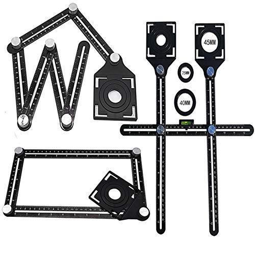 Plantillas de ángulo, regla de medición multiángulo, azulejos de ladrillo, herramientas de posicionamiento de esquina, con apertura de posicionamiento de azulejos, para azulejos (dos agujeros)