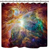 Riyidecor Weltraum Duschvorhang Galaxie Universum Gelb Orange Bunt Psychedelic Planet Nebel Sternenhimmel Dekor Badezimmer Set Stoff Polyester Wasserdicht 183 x 183 cm 12 Stück Kunststoffhaken