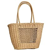 JIEIIFAFH Alta qualità Creative Design Individuale Bag Paglia Tessitura Hollow Naturale Materiale Hollow Beach Bag (Color : Picture Color, Size : M)