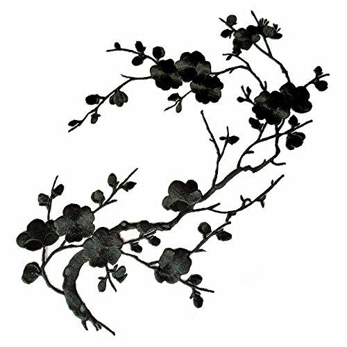 1pcs Big Plum Blossom Iron On Patches Embroidery Flower Appliques 14.1'x7.5' (36x19cm) (Black)