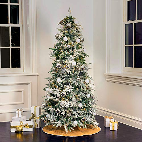 Flocked Pop Up Christmas Tree - 6 Ft, Collapsible for Easy Storage, Prelit Pine with 250 LED Lights, 102 Holiday Ornaments and Burlap Tree Skirt Included, White and Silver Christmas Decorations