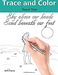 Trace and Color: Beach Time: Adult Activity Book
