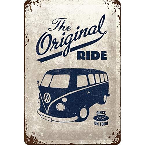 Nostalgic-Art Retro Blechschild, Volkswagen Bulli T1 – Original Ride – VW Bus Geschenk-Idee, aus Metall, Vintage-Design zur Dekoration, 20 x 30 cm