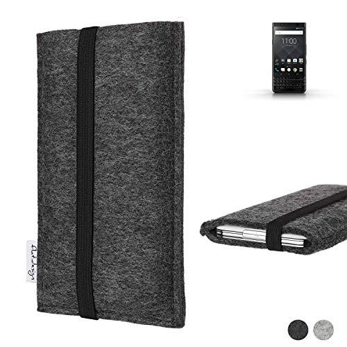 flat.design vegane Handy Tasche Coimbra für BlackBerry KEYone Black Edition - Schutz Hülle Tasche Filz vegan fair schwarz