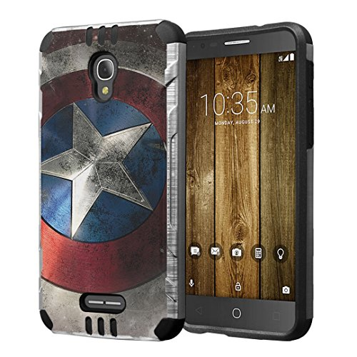 Alcatel Fierce 4 / Allura/Pop 4 Plus Case, Hybrid Dual Layer Silm Defender Armor Case (Silver & Black) Brushed Finishing for Alcatel Fierce 4 / Allura/Pop 4 Plus - (Rock Star)