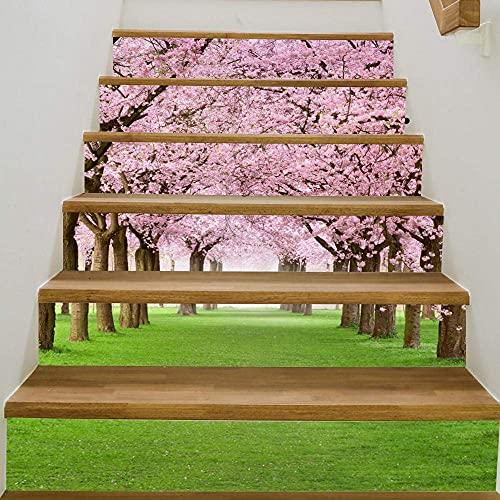 Kreative Selbstklebende Treppenaufkleber, Renovierungstreppen, Diy Cherry Tree Wasserdichte Treppenaufkleber Dekoration