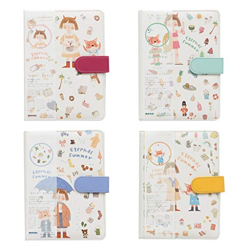 LANCHEN A5 Cuaderno de Dibujos Animados Lindo Diario de Cuero Planificador de Diario Agenda de Diario de viajeros