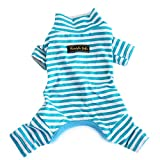 Hdwk&Hped Soft Cotton Dog Pajamas, Light Blue Stripes Small Dog Puppy Cat Bottoming Jumpsuit Style #1
