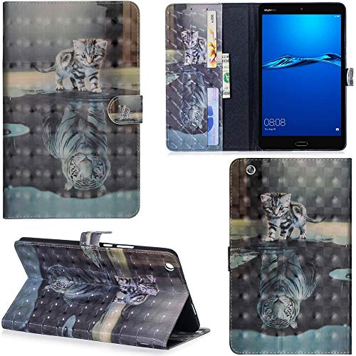 Ooboom Huawei MediaPad M3 Lite 8 8,4 Zoll Hülle 3D Flip PU Leder Schutzhülle Tasche Case Smart Cover Ständer mit Kartenfach Integrierten Kartensteckplätzen Magnetverschluss - Katze Tiger