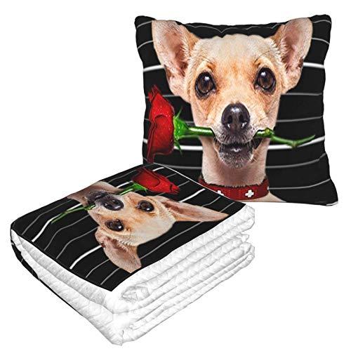 Rose Hundekissen Decke Reise wandelbare Decke Kissen weiche Flugzeugdecke verpackt in weicher Tasche Kissenbezug Chic Fuzzy Sherpa Überwurf für Bett Couch Auto Camping