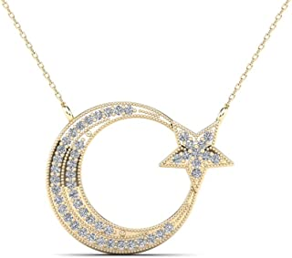 JewelAngel 10k Yellow Gold 1/8ct TDW Diamond Moon and Star Pendant Necklace (H-I, I1-I2) …