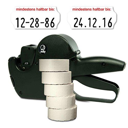 Set: MHD Datumsauszeichner Jolly C8 für 26x12 inkl. 7.500 HUTNER Etiketten weiss permanent - Aufdruck: mindestens haltbar bis | HUTNER