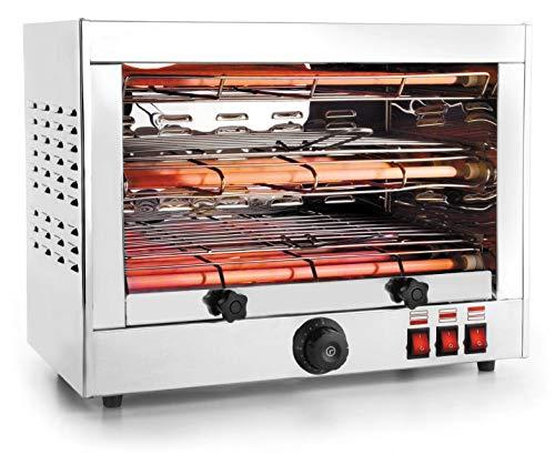 My-Gastro Salamander Grill 3600W - 320ºC Dispositivo di bordo ondulato Tostapane Forno Griglia posteriore Acciaio inox