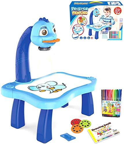 Kinder Zeichenbrett Projektor Malerei Set, Kinder Tischplatte Projektor Zeichen Gekritzel Brett mit 3 verschiedenen Bildscheiben 12 Farbstifte Frühe Bildung Spielzeug Handwerk Geschenk für Kinder