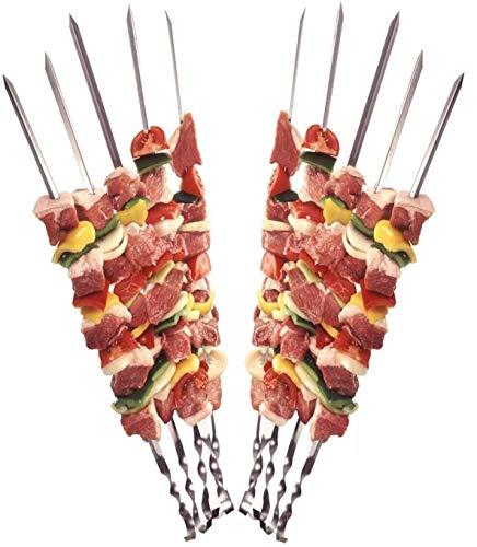 12 Grillspieße Schaschlikspieße aus Edelstahl 60cm | Fleischspieße für BBQ & Grill | Kebab Spieße | Schampura für Mangal