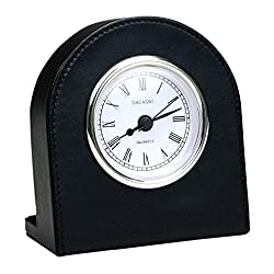 Dacasso 1000 Series Classic Leather Clock with Gold Insert in Black