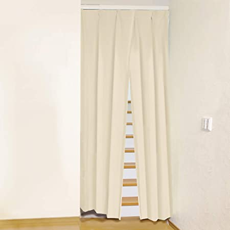 [カーテンくれない] リビング階段や玄間の【間仕切り】にスリットカーテン レールセット 断熱カーテン 突っ張り式 目隠しカーテン 突っ張り棒 カーテン 色:エクリュ サイズ:(幅)85cm×(丈)235cm