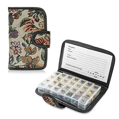 TabTime Tapisserie Pillentasche (mit deutscher Beschriftung), 7 Tage Tablettenbox tragbar mit 28 Fächer und Schutzhülle