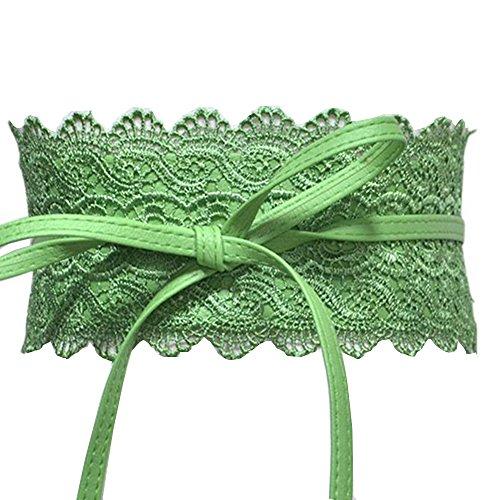 Women's Lace Waist Belt Bow Tie Wrap Around Soft Leather Boho Corset Fashion Elegant for Dresses (Green)
