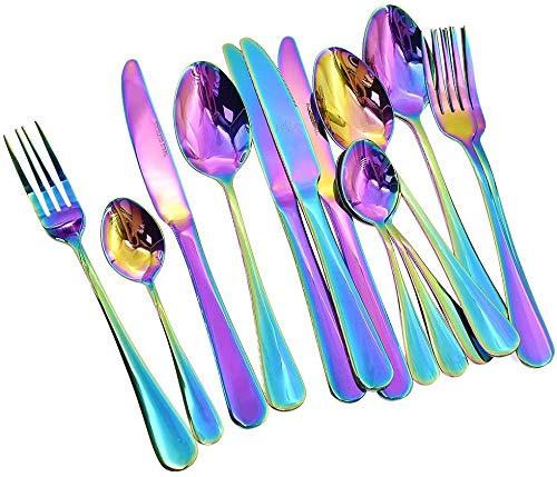 Auped Juego De Cubiertos De Acero Inoxidable Rainbow Color, Juego De Cuchillos Y Tenedores para Cuchara De Mesa con Caja De Transporte para La Fiesta De Viaje En De 16 Piezas