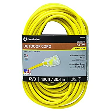 Southwire 02589SW Outdoor Extension Cord- 12/3 American Made SJTW Heavy Duty 3 Prong Extension Cord- Great for Commercial Use, Gardening, and Major Appliances ( 100 Foot- Yellow)