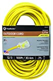 Southwire 25890002 2589SW0002 Outdoor Cord-12/3 American Made SJTW Heavy Duty 3 Prong Extension Cord, Water Resistant Vinyl Jacket, for Commercial Use and Major Appliances, Foot, Yellow, 100 Feet