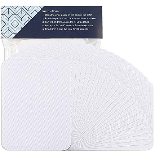 Outuxed 24pcs Fabric Iron on Patches White 4.9 Inches x 3.7 Inches Repair Kit Large Size for Clothes, Pants, Jeans, Jackets