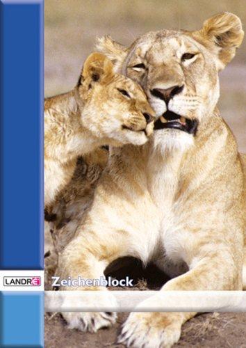 LANDRE 100050439 Zeichenblock 10er Pack A4 20 Blatt 100 g/m² Zeichen-Karton geheftet 4 Tier-Motive sortiert Zeichenpapier