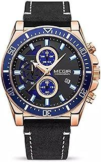 Megir Casual watch For Men Chronograph Leather ML2132G-BK-3 Black Blue