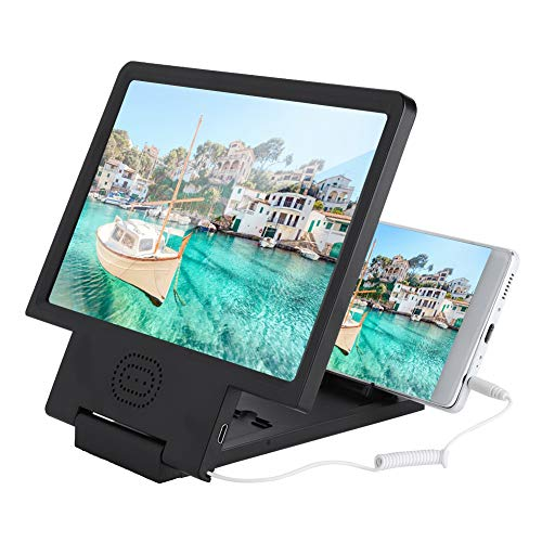 Eboxer Soporte de Lupa de Video de Pantalla de Teléfono Móvil,HD Portátil Amplificador de Pantalla con Altavoz (Negro)