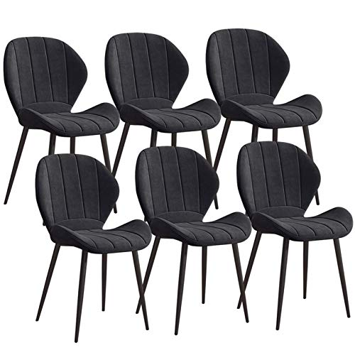 Set of 6 Dining Chairs Soft Velvet Upholstered Fabric Chairs For Home Kitchen Furniture Sturdy Metal Legs Kitchen Chairs (Color : Black)