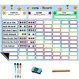 CHIMAERA Tablas de recompensa ,Star /Responsabilidad Gráfico de recompensas ,Tablero Magnético para 3 niños Pegatina Nevera Magnético, con 3 marcadores 1 borrado en seco (43 x 30cm) (Color 1)