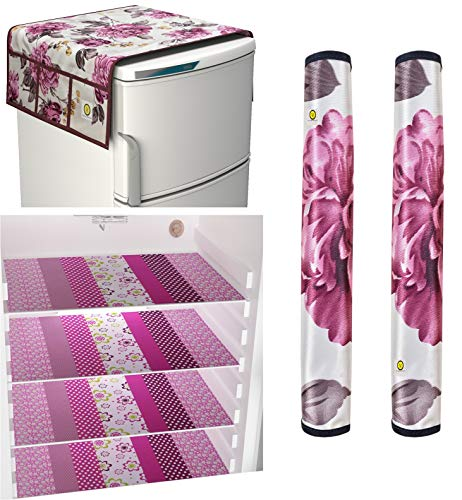 Yellow Weaves Combo of Exclusive Design Fridge Top Cover,2 Fridge Handle Covers 4 Fridge Mats (Multi...
