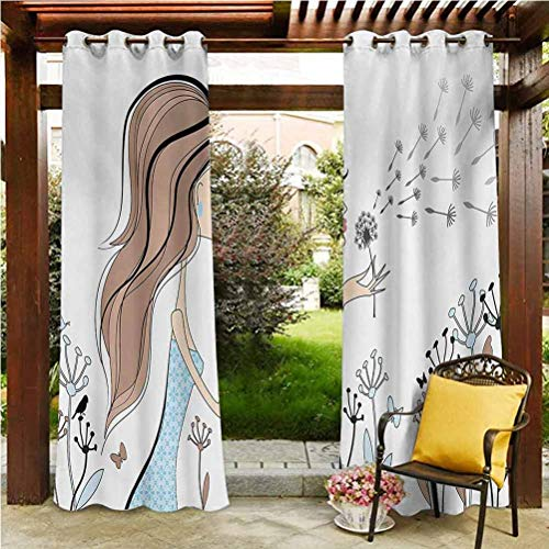 Girls Durable Curtain Voile Drapes for Lawn Corridor Terrace Garden Fashion Woman with Dandelion Flower Spring Wind Garden Sketchy Illustration Warm Taupe Blue 108'W by 96'L(K274cm x G243cm)