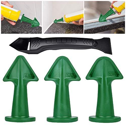4 PCS Caulking Tool, 3 in 1 Caulking Tools kit, Caulk Nozzle Applicator Epoxy Piston Accessories, Sealant Finishing Great Tool Silicone Grout Scraper for Tile, Brick Joints, Kitchen Bathroom Window