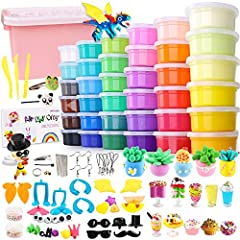 The 36-color box-packed air dry clay (each box is about 0.7 ounces, 25.2 ounces in total) is packed in a plastic storage box. Also comes with tool knives, accessories and instructions for easy creation. Clay is very soft and lightweight, easy to stre...