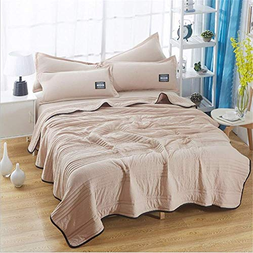 smzzz Home Decoration Solid Color Thin Quilt Summer Quilt Absorption and Breathability Solid Color Embroidered Summer Quilt/quilt Microfiber Soft Touch (C 180 x 220 cm)