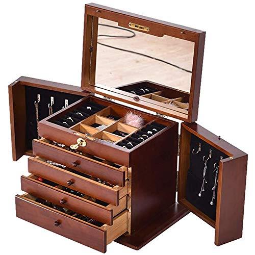 Schmuck Organiser- 5 Schicht Huge Leder Schmuckschatulle Für Frauen Mit Spiegel-Uhr-Halskette Ring Ohrring-Armband-Speicher-Fall-Haushaltszubehör,Braun