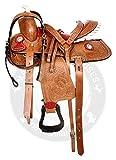 Deen, Enterprises - Sottosella per cavallo in pelle di alta qualità, stile occidentale da corsa per adulti, in pelle abbinata, con colletto al seno, redini da 35,6 cm a 45,7 cm (sedile da 44,5 cm)