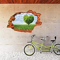新しい3Dフェイクウィンドウ風景ココナッツツリーウォールステッカー家の装飾寝室のポスター偽ウィンドウビーチレンガ壁デカールアート壁画、60×90センチ