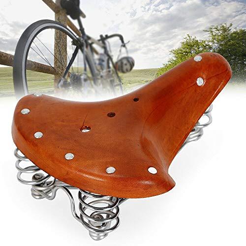 LianDu Silla de Sillín de Bicicleta de Cuero Genuino Comfort Vintage Asiento de Bicicleta de Reemplazo