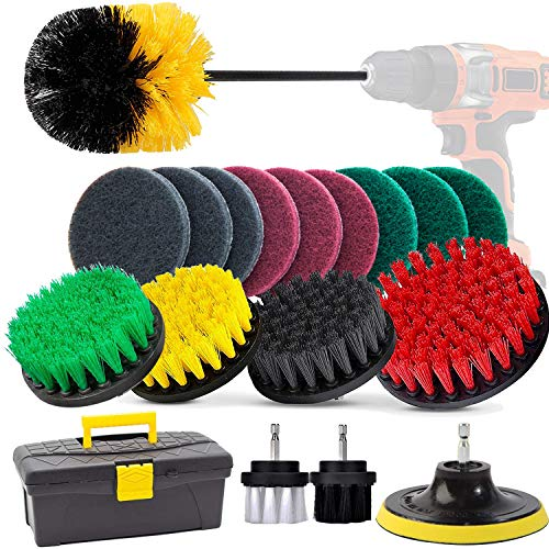 GOH DODD Drill Brush, 20 Pieces Power Scrubber Variety Cleaning Kit with Scrub Pads and Long Reach Attachment in Box for Bathroom Shower Scrubbing, Carpet Cleaning, Grout Scrubbing, and Tile Cleaning