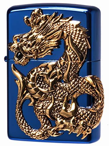 ZIPPO ジッポーライター オイル ライター ドラゴンメタル 天然オニキス入り 限定モデル BLUE ブルー