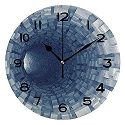 ALUONI 10 Inch Round Face Silent Wall Clock Outer Space Decor,Endless Tunnel with Fractal Square Shaped Segment Digital Unique Contemporary Home and Office Decor No25470